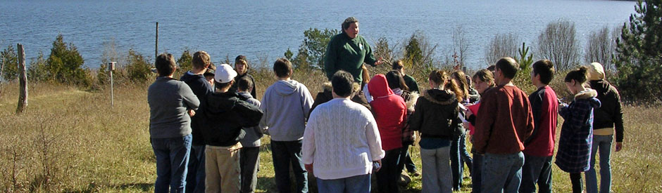 Group enjoying an outdoor education program at Guelph Lake
