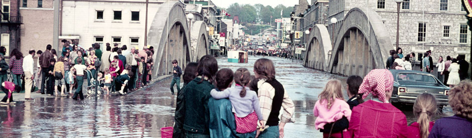 Main Street bridge in Galt during 1974 flood