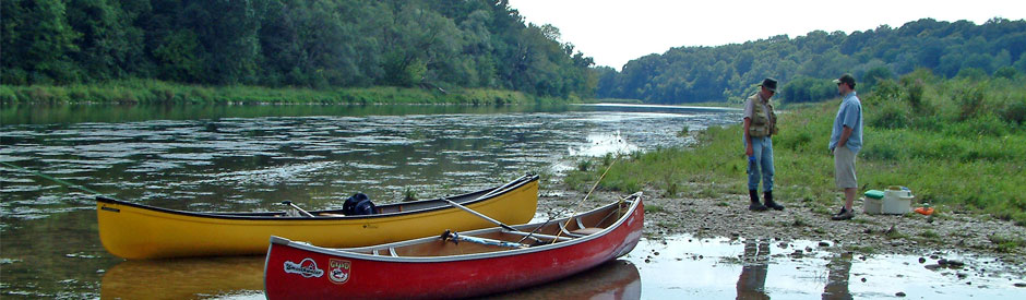 Canoes on shore - middle Grand River