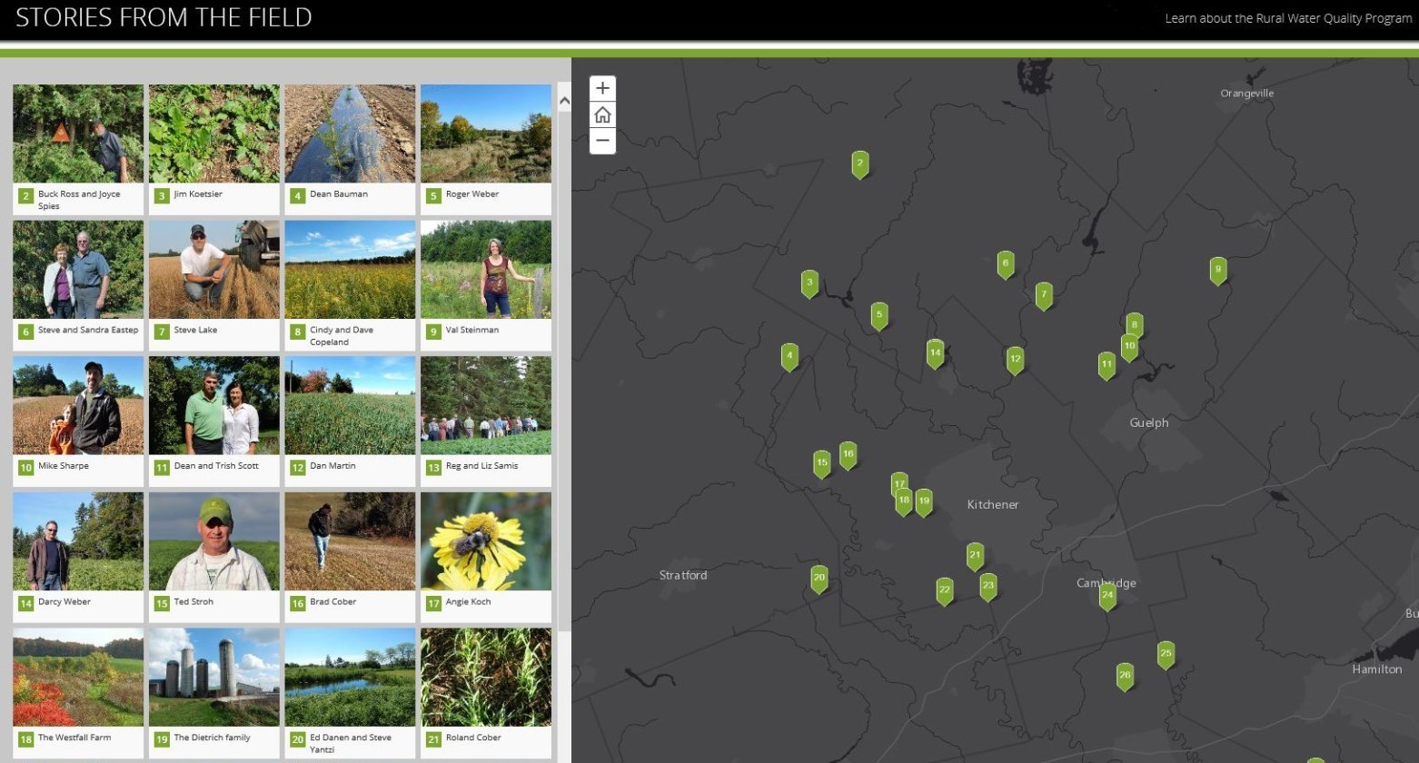 "Screenshort of ""Stories in the Field"" a web application showcasing local watershed landowners"