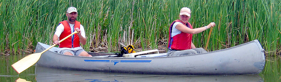 Two people canoeing in marsh area