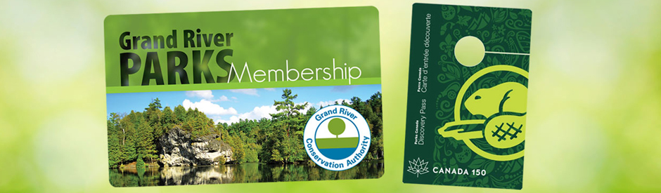 Image of Grand River Parks membership pass and Parks Canada Discovery Pass