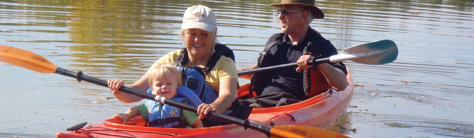 Family canoeing at Shade's Mills